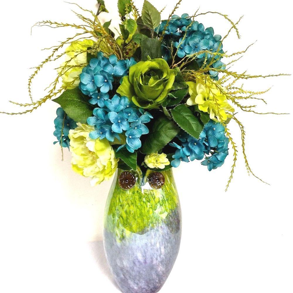 Silk floral arrangement hand blown glass owl vase 26 tall silk floral arrangement hand blown glass owl vase 26 tall turquoise blue green customdesignedhandmade reviewsmspy