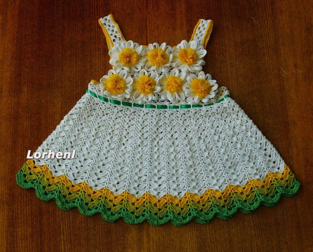 """Летнее платьице - """"ромашка"""" и шляпка для девочки, связанные крючком - Рукоделие"""