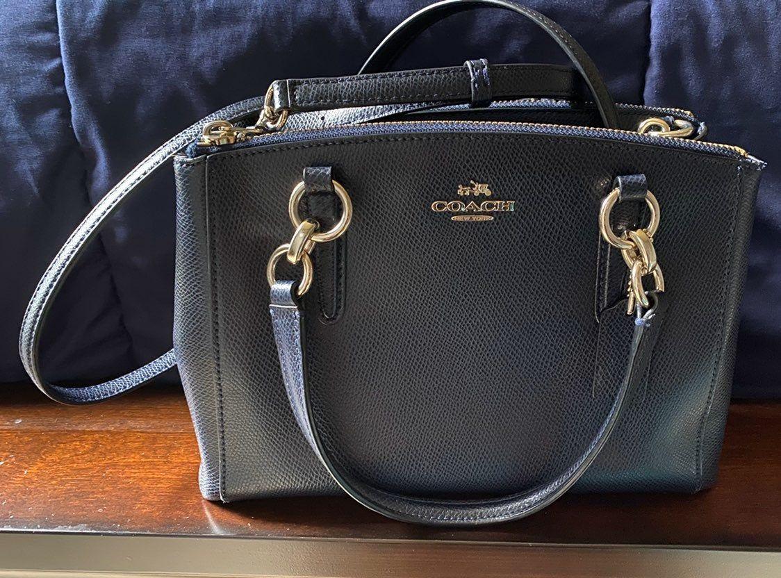 Coach mini christie crossbody bag in navy pebble leather