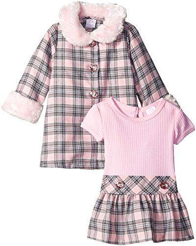 7bea77aaa0919 Youngland Baby-Girls Infant 2 Piece Plaid Coat Set with Matching Dress,  Pink/Grey, 12 Months
