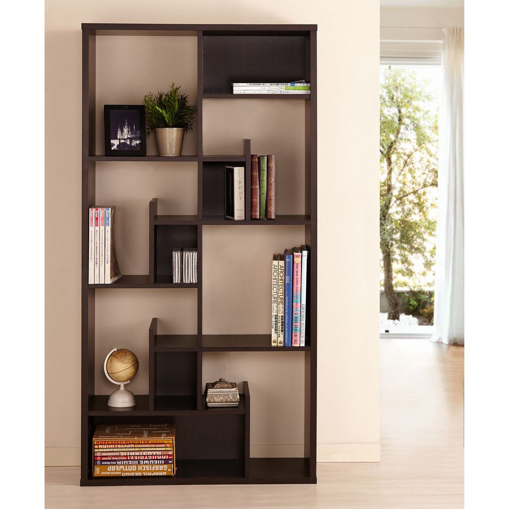 leaning espresso pin briar decor briarwood bookcase home wood brown finish