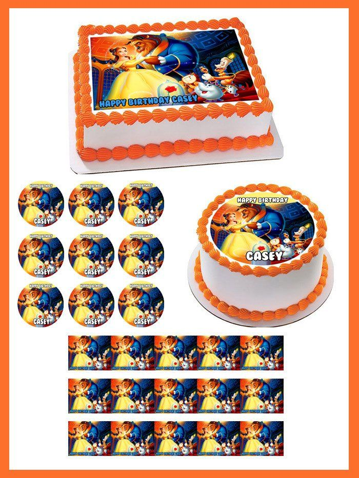 Beauty and the Beast Belle Edible Birthday Cake Topper OR Cupcake