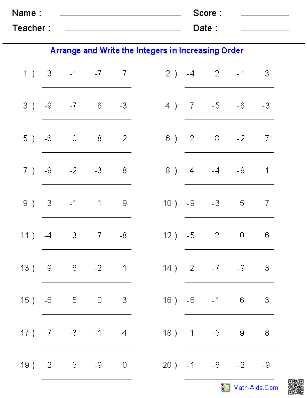 Arranging Order of Integers Worksheets | 7th Grade Math | Pinterest ...