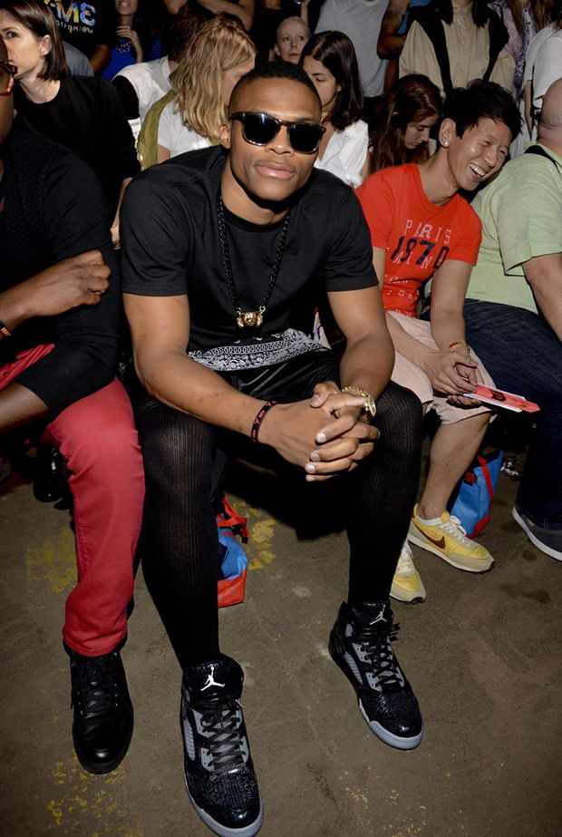 "... Nike Air  the best 0f448 06ab1 Russell Westbrook in the Air Jordan 5  ""Doernbecher""  classic shoes ... 8f00fc7582"