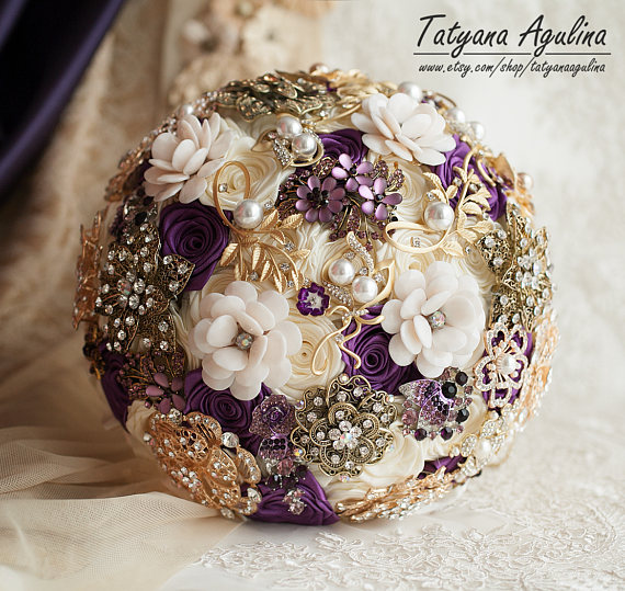 Gold Wedding Bouquet Brooch Bouquet Bridal Bouquet Purple | wedding ...