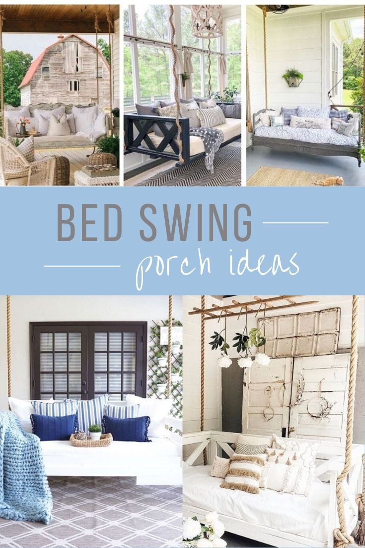 Bed swing porch ideas.  Beautiful twin and full size beds made into swings for the front, back and screened in porches.  These DIY hanging beds with mattresses have a modern farmhouse vibe.  Outdoor and indoor large beds hanging by rope and chains. Decorate your porch with hanging beds.  #porchideas #hangingbed #lifeonsummerhill