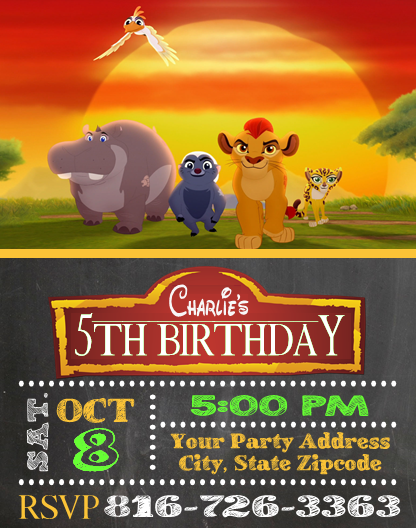 Lion Guard Birthday Party Invitations Personalized Custom