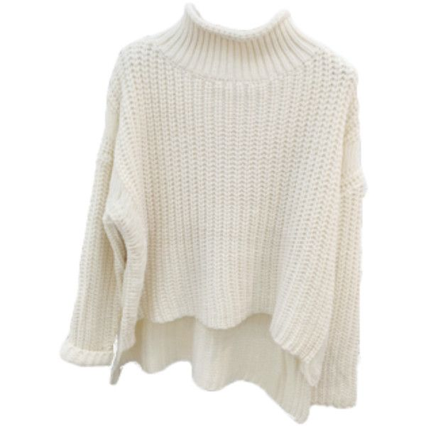 High Neck Asymmetrical Knit Sweater ($49) ❤ liked on Polyvore featuring tops, sweaters, high neck top, knit sweater, asymmetrical sweater, high neck sweater and asymmetrical knit top