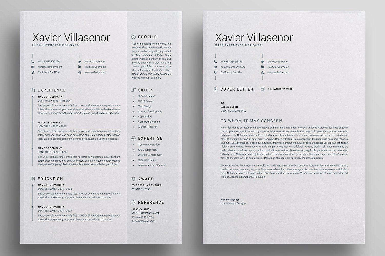 Resume/CV by Reuix Studio on creativemarket Letterhead