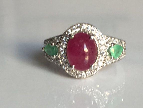 dark shade natural ruby ring with emerald and by tarunenterprises