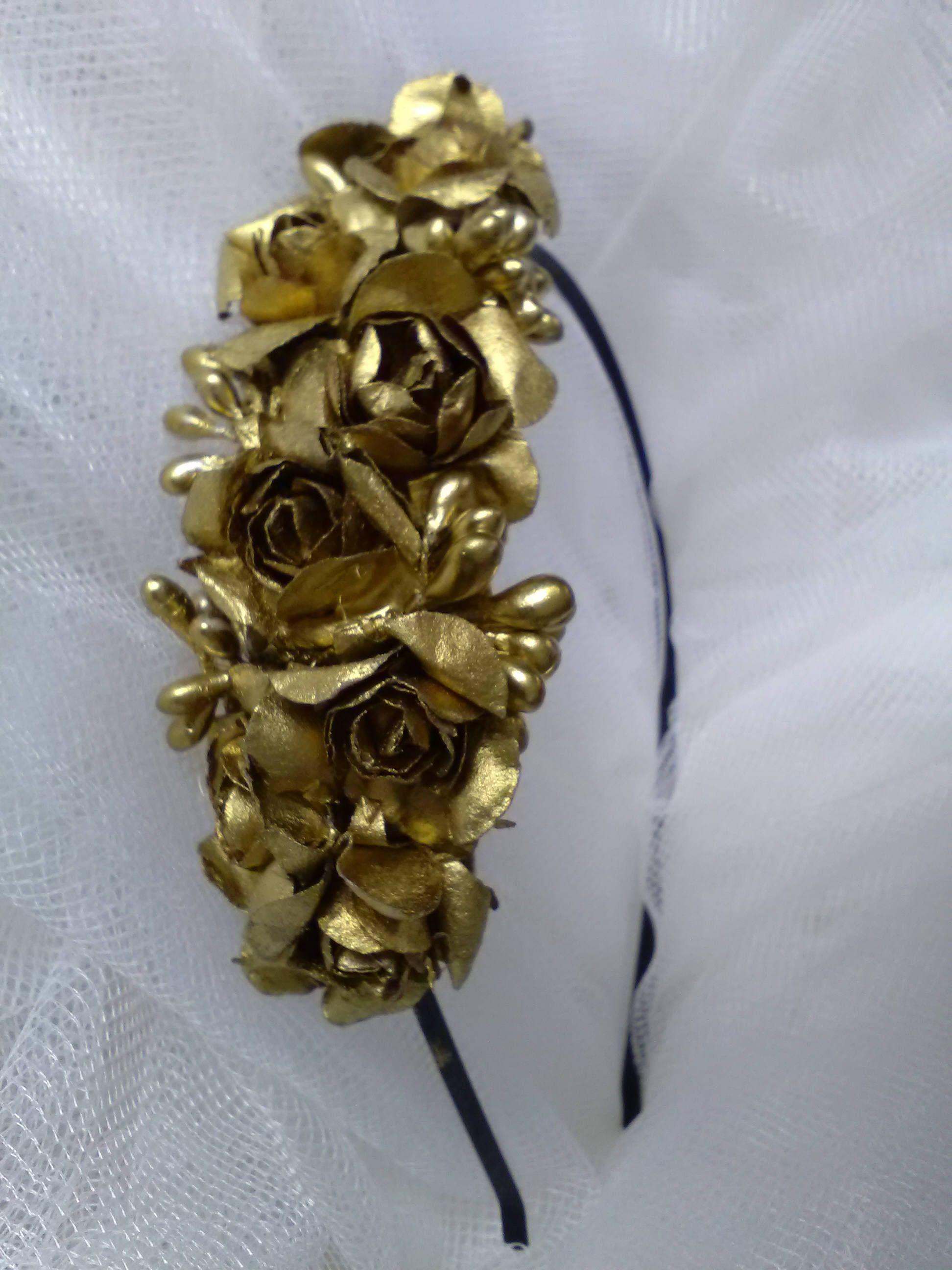 Diadema Con Flores Color Oro Tenidas A Mano Diadema De Novia Tocado Para El Pelo Tocado De Novia Tocado Vintage Complemento Novia De Viremdesigns En Design