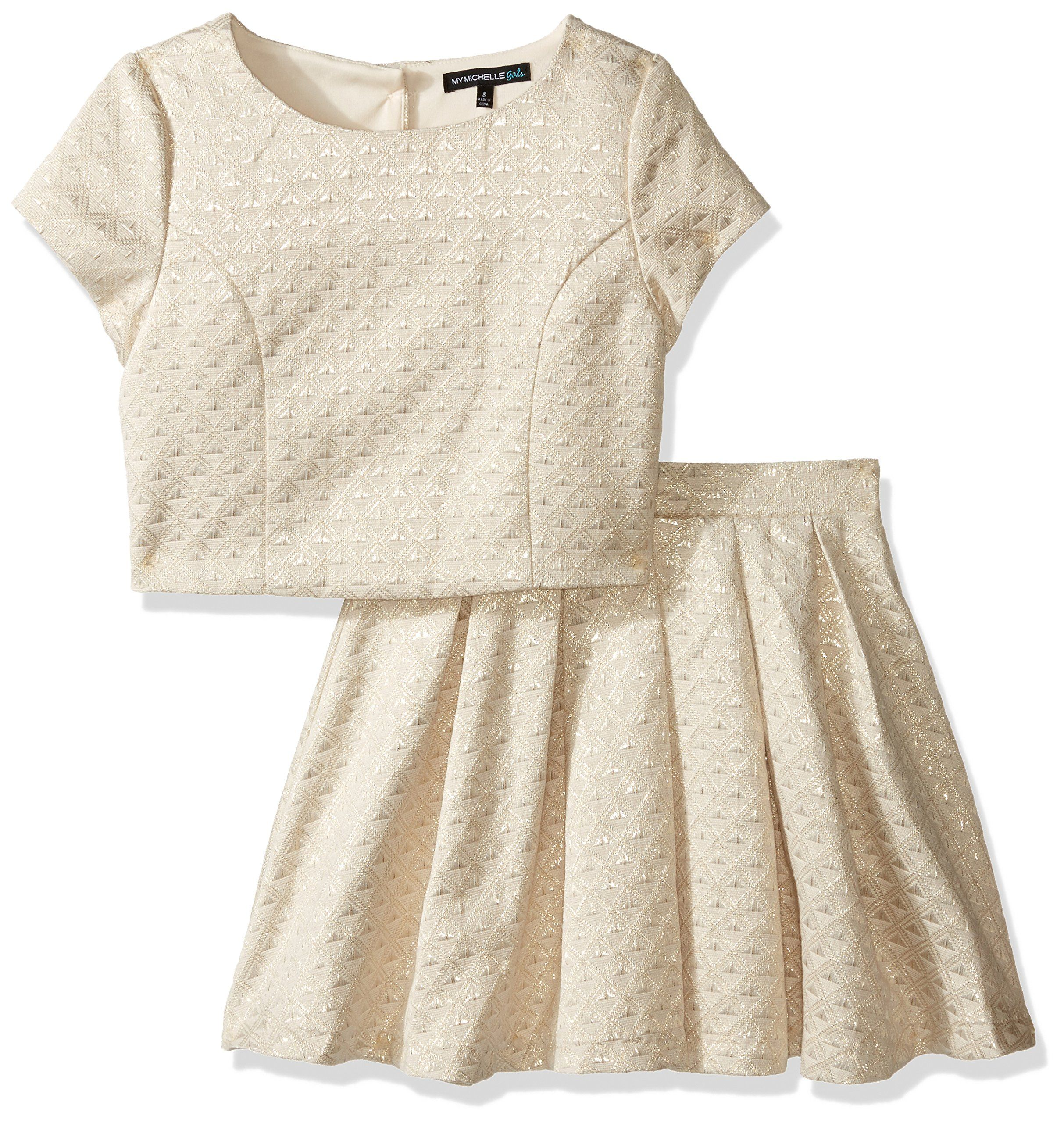 abab79a1c7c My Michelle Big Girls  Two Piece Set with Cap Sleeve Top with Quilted