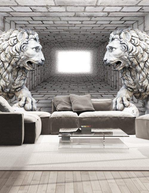 Carta da parati leoni di pietra carta da parati fotomurale for Carta da parati effetto pietra 3d