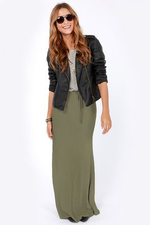 Lucy Love Olive Green Maxi Skirt | Green, Olives and Casual