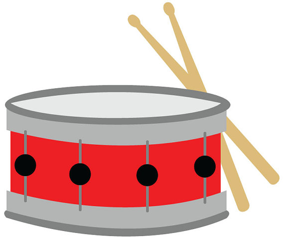 Snare Drum Clip Art Red With Drumsticks Vector Illustration Digital Download Music