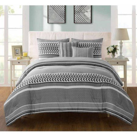 Vcny Home Marcus Geometric Bedding Comforter Set with Decorative Pillows, Multiple Colors and Sizes Available, Gray