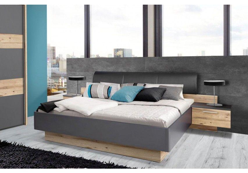 Perfekt Bettanlage Mit 2 Nachtkonsolen Grau/ Planked Eiche Woody 77 01072