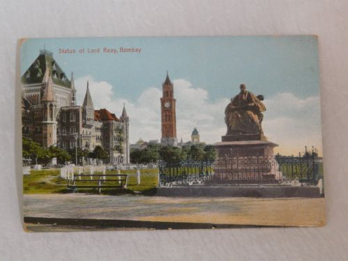 INDIA Statue of Lord Reay Bombay Hand Tinted Postcard 1910-1920's | eBay