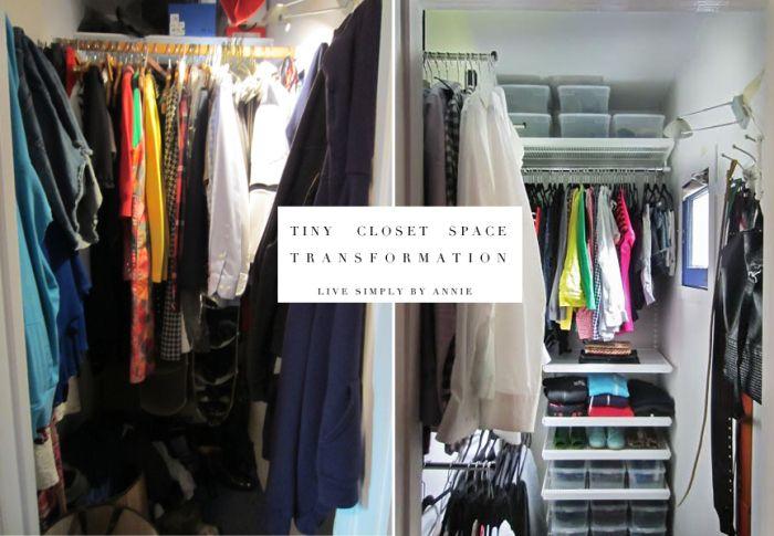 Tiny Closet Space Transformation Live Simply By Annie Tiny Closet No Closet Solutions Bedroom Organization Closet