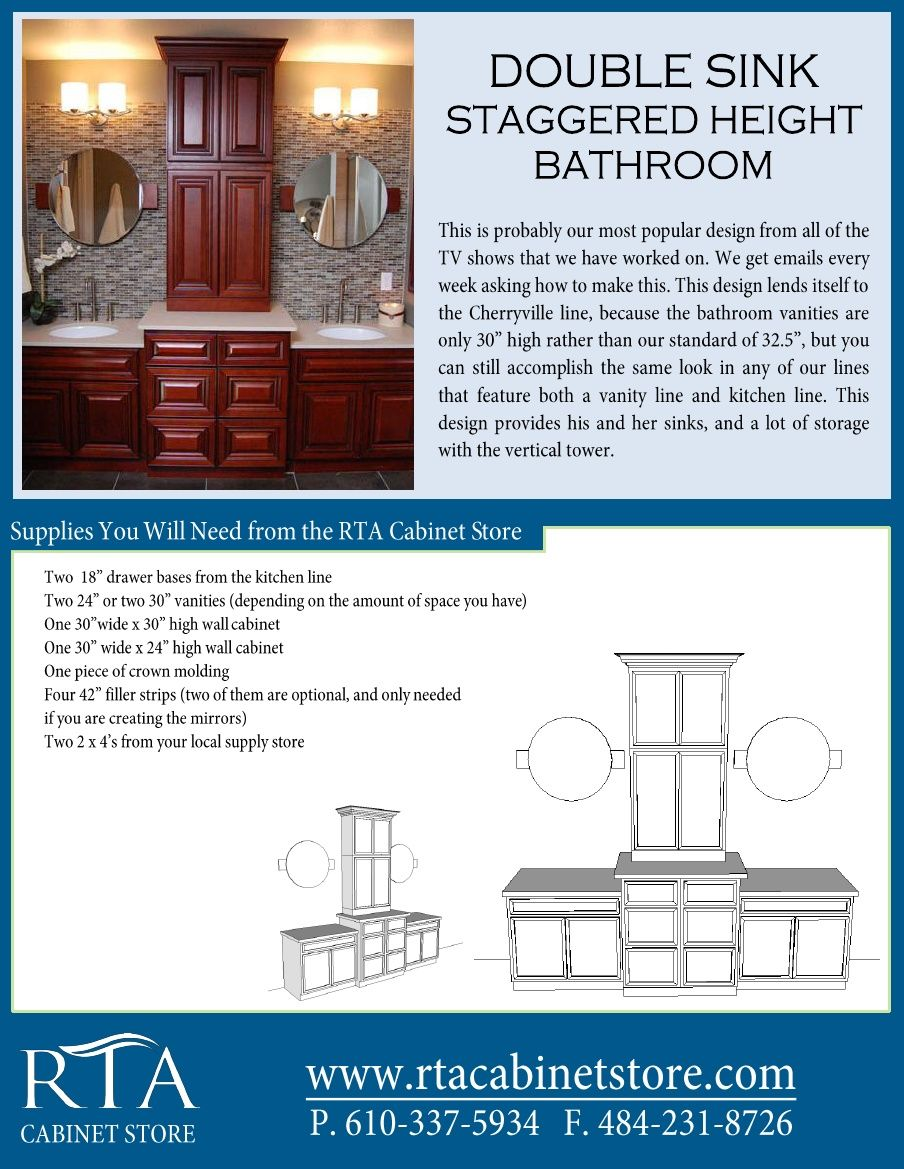 Creating a staggered height master bathroom using rta bathroom ...
