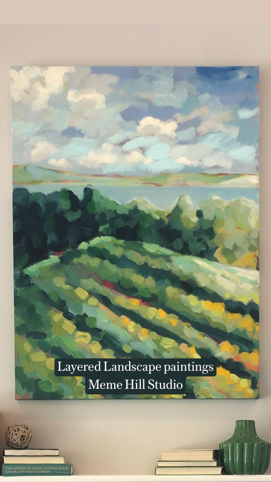Layered Landscape paintings Meme Hill Studio