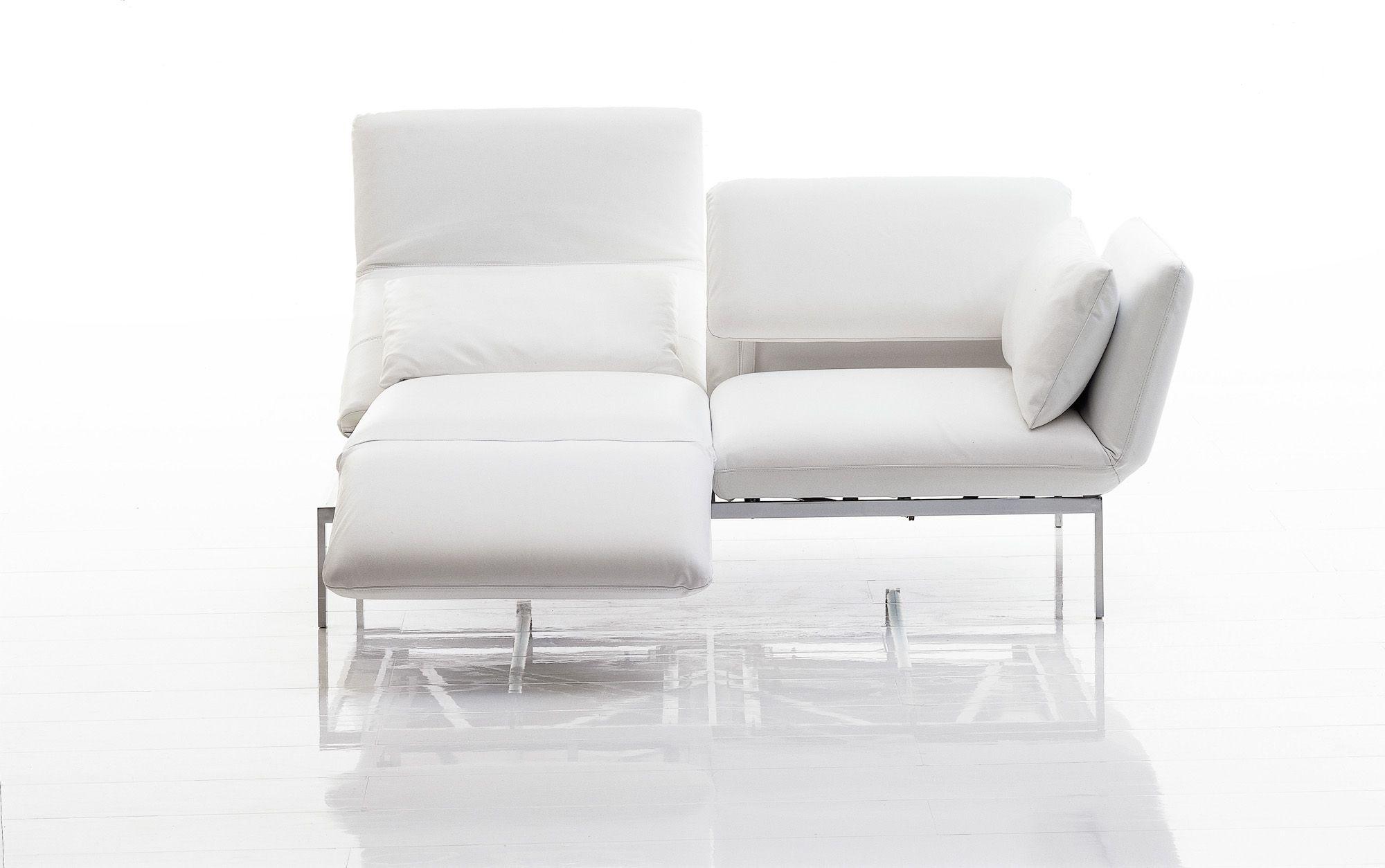 Sofa Leder Weiss Klappbare Armlehne Schwenkbare Fussauflage