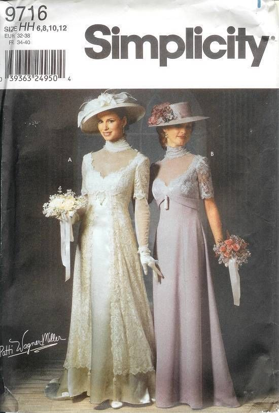 Victorian Wedding Costume Titanic Simplicity Sewing Pattern 9716 ...