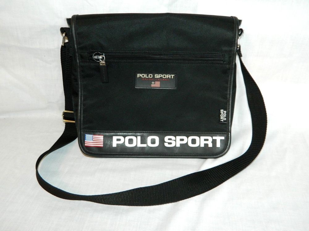 618ed912a841 VTG 90s POLO SPORT Ralph Lauren Black Crossbody Shoulder Messenger Bag Purse   RalphLaurenPoloSpot  crossbodyshoulderbag