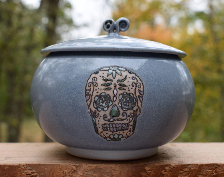 Sugar Skull Jar Hand Thrown Ceramic Jar Jar With Lid Spice