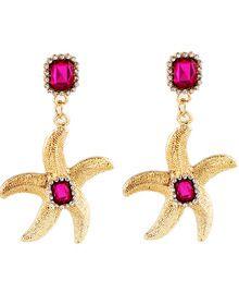 Red Gemstone Gold Starfish Earrings