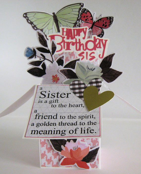 Card In A Box Box Card Sister Birthday Card Pop Up Card With