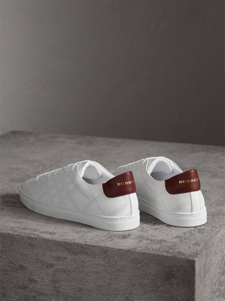 Perforated Check Leather Sneakers in Optic White  Men