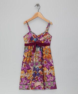 Fuchsia and brown dress