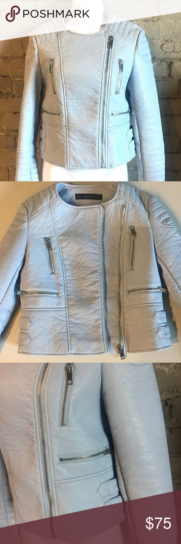 543cc18d Zara Basic Moto Style Jacket Faux Leather Zara Basic Moto Style Jacket  Women's Size Medium Baby