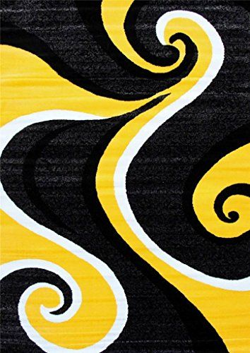 0327 Yellow Black Gray White 7 10x10 2 Area Rug Modern Carpet