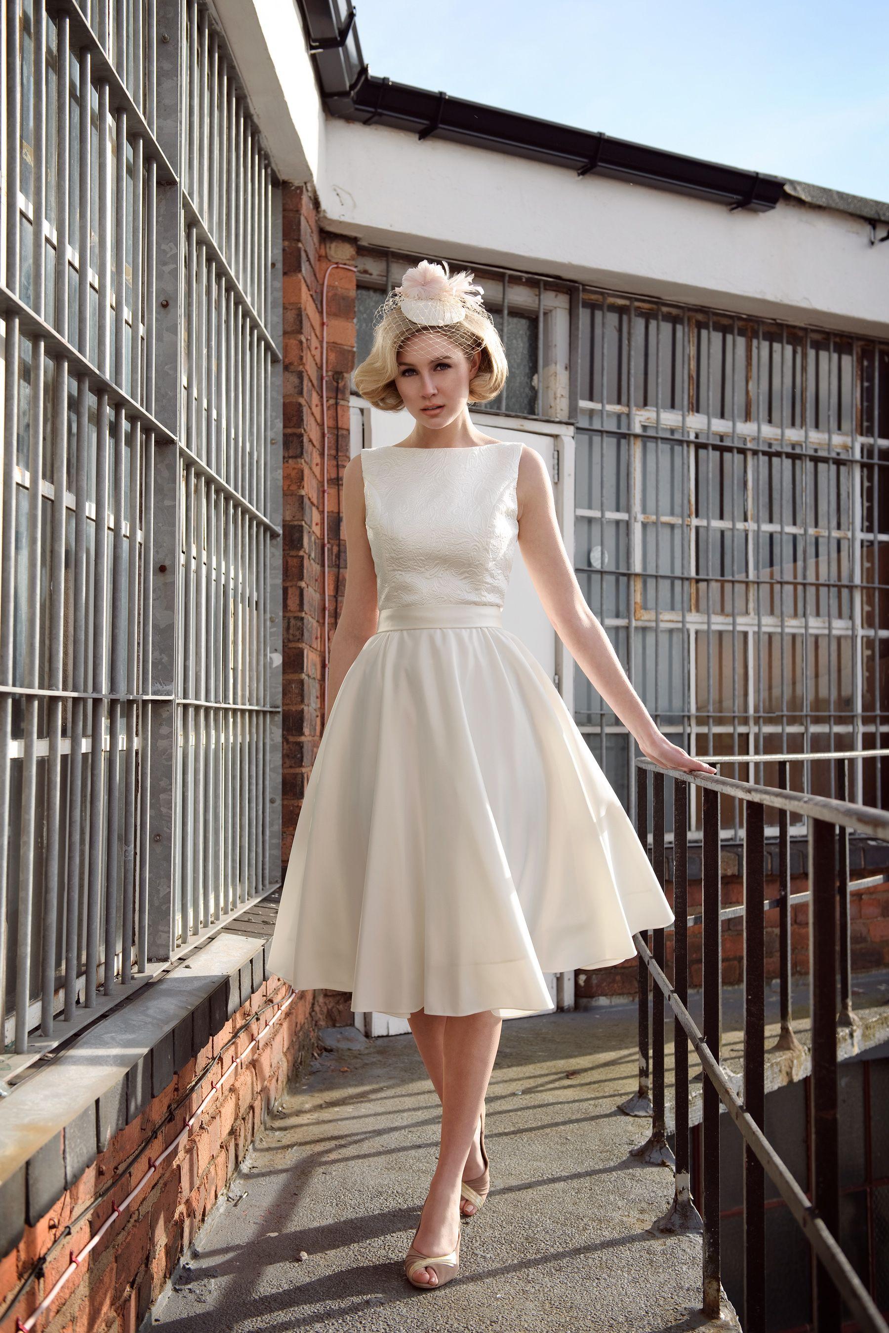 Short Wedding Dresses Tea Length Wedding Dresses Tobi Hannah Short Wedding Dress Boat Neck Wedding Dress Wedding Dress Inspiration [ 2700 x 1800 Pixel ]