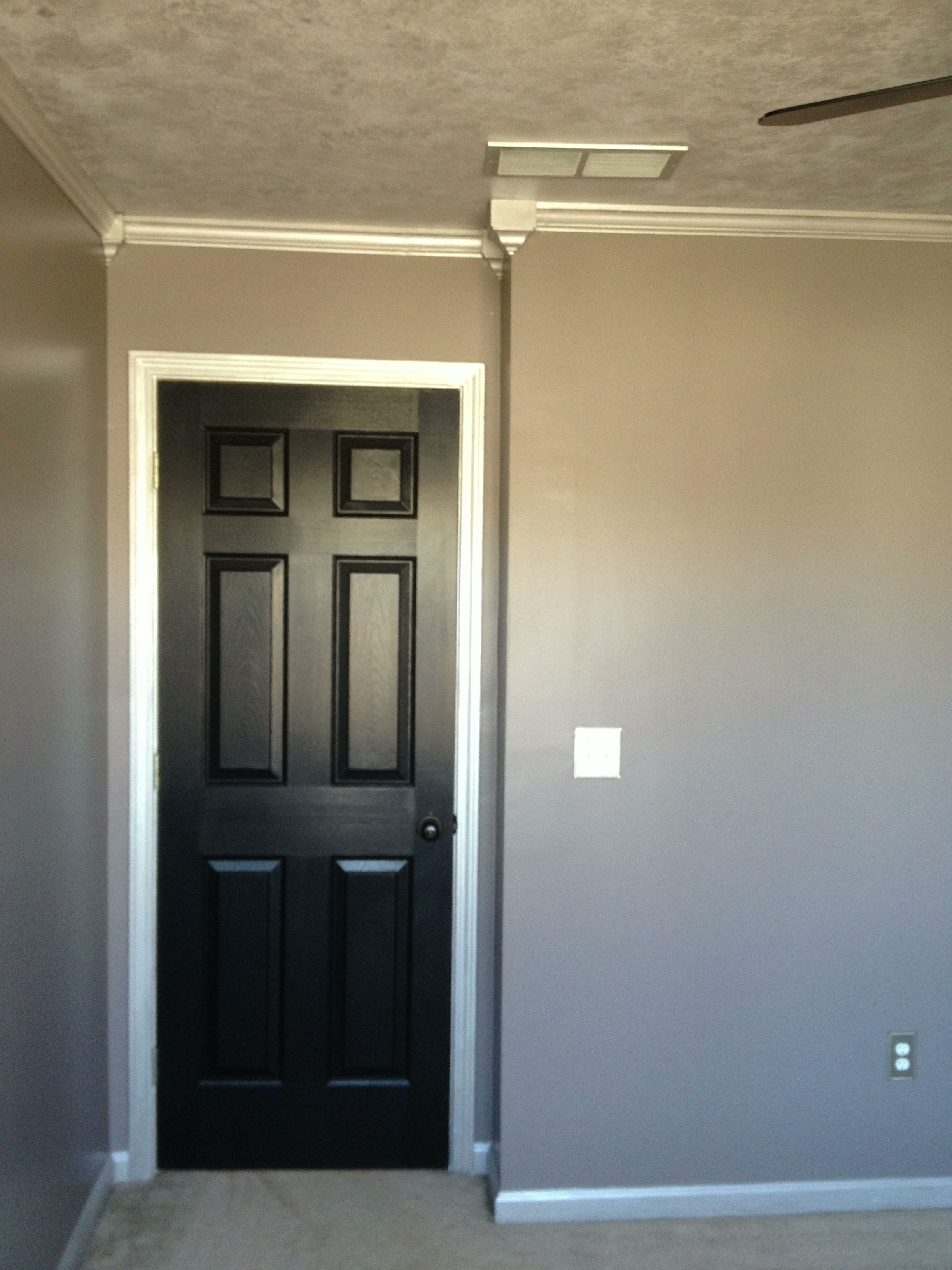 Sherwin Williams Paint, Doors Are Tricorn Black, Walls Are Mink And Base  Coat On Ceiling And Trim Work Is Essential Grey With A Faux Finish Of  Silver Patina ...