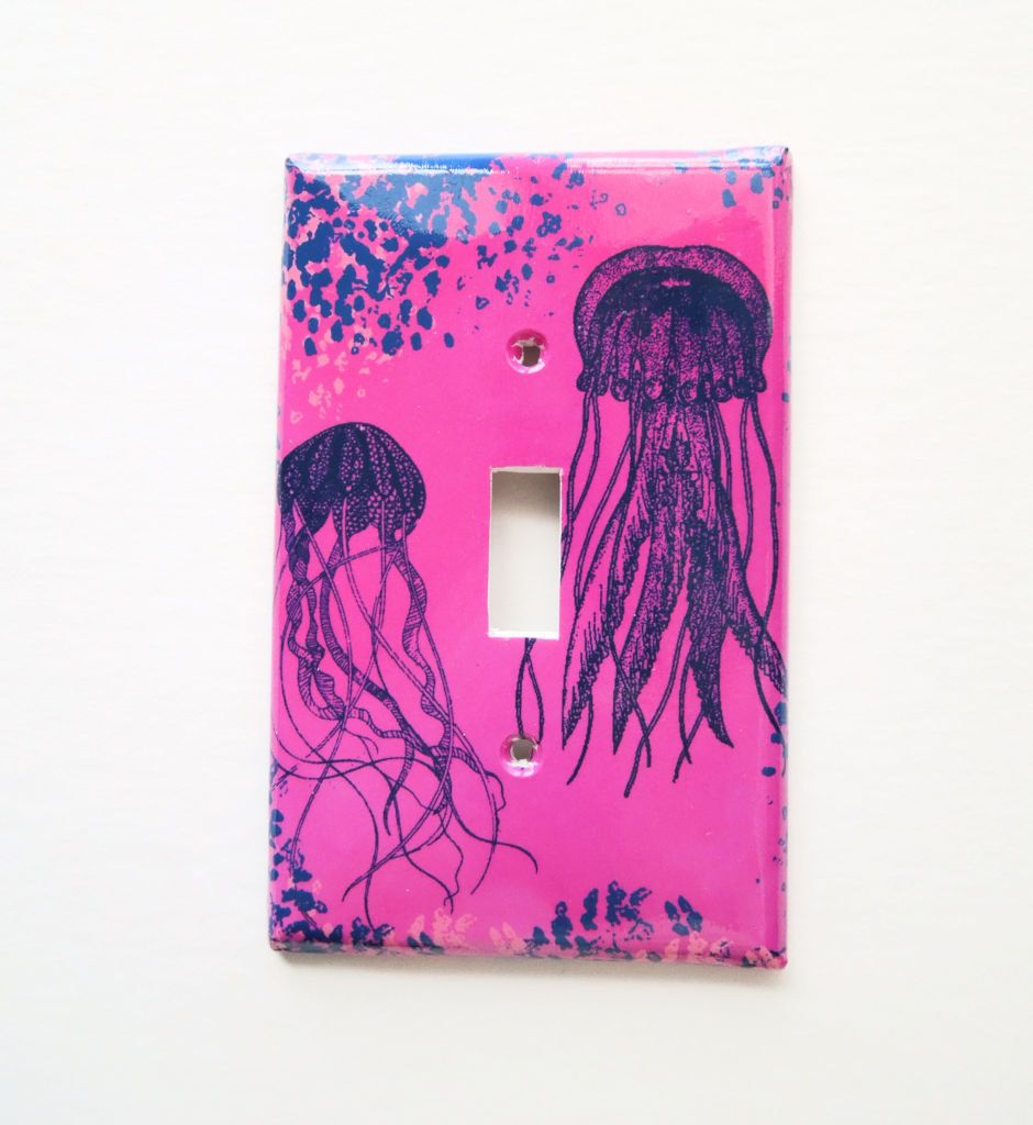 Jellyfish Switchplate Cover Surfer Beach Cotttage Bathroom Light Switch