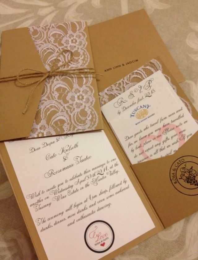 Pocketfold invite with lace detailing and jute string wrapping ...