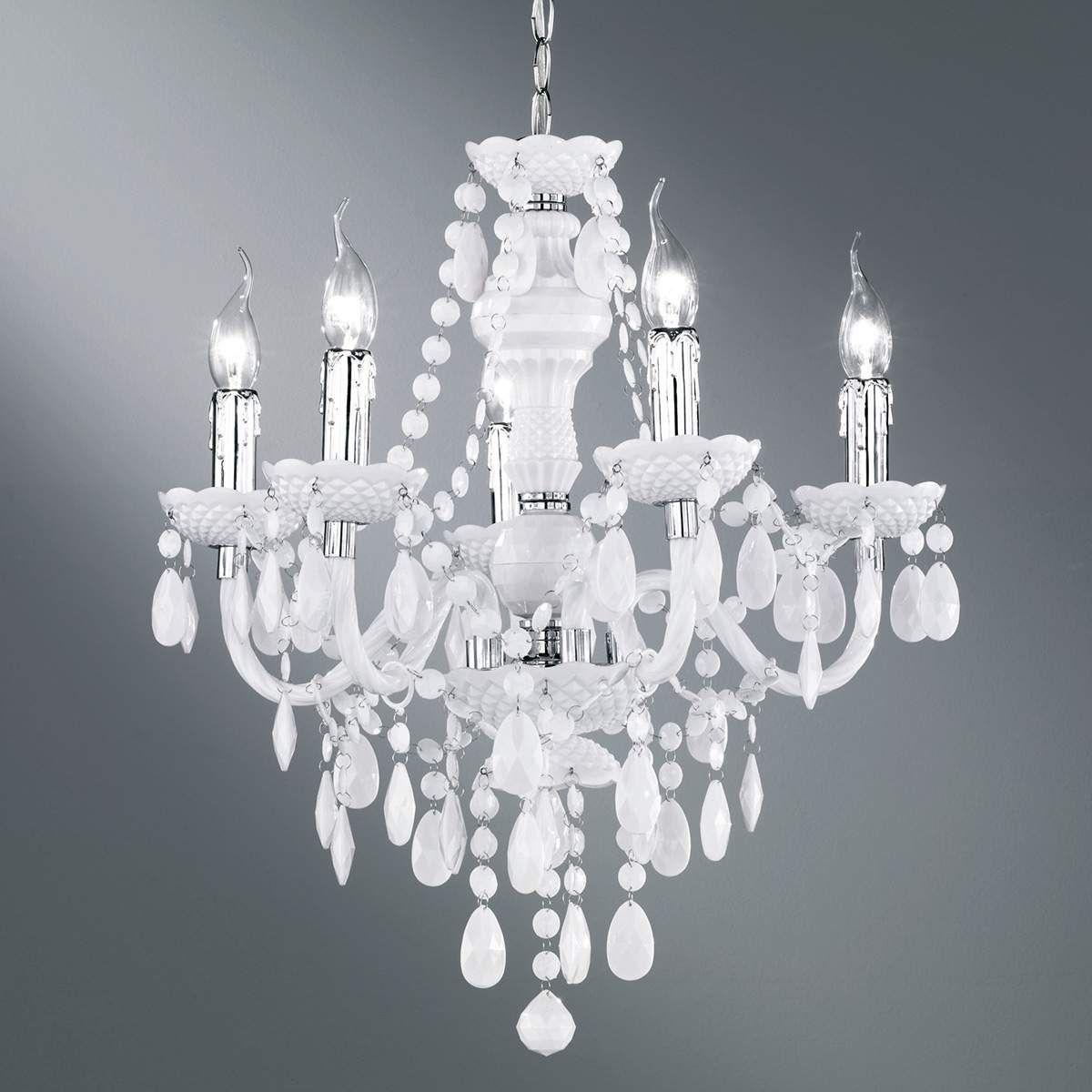 Home, Furniture & DIY Kronleuchter Weiß Gold Ø8cm mit Kristall