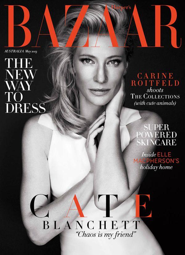 #glamour #fashion #beauty #covergirl #magazine #blackandwhitephotography  Cate Blanchett, Harper's Bazaar Australia, May 2013