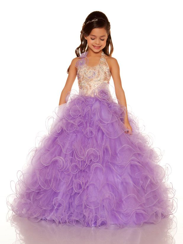Stunning Ruffle Tulle Ball Gown Skirt Lilac Little Girls Pageant Dress  Floral Halter Junior Size Party Prom Pageant Gown Flower Girl.