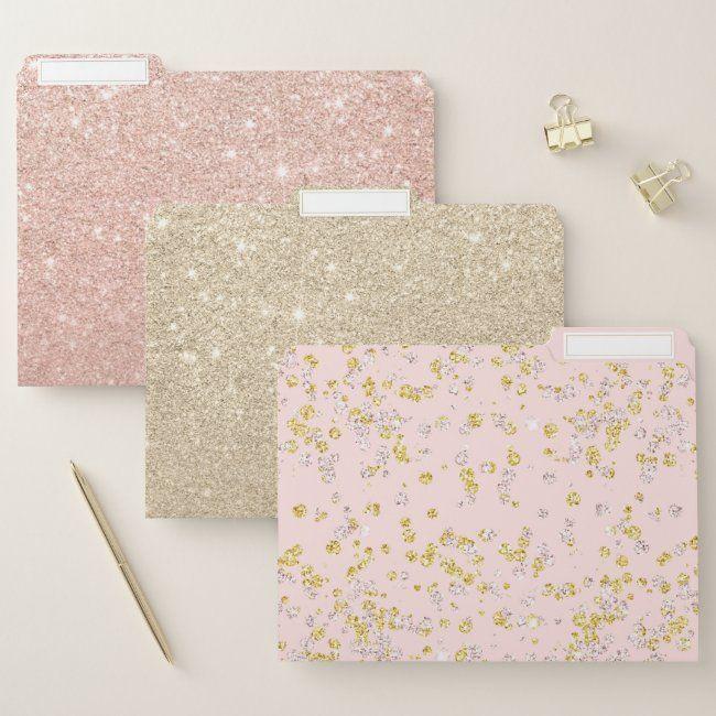 Girly gold glitter pink glitter pastel pink ombre file folder #girly #gold #glitter #pink #glitter #filefolder #officesupplies #smallbusiness #organize #office #homeoffice #entrepreneur