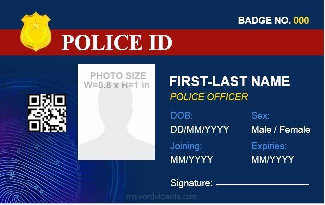 Id Card Size Template Beautiful Police Id Card Templates For Ms Word Id Card Template Business Card Template Design Card Template