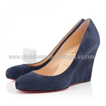 Navy Wedges Ron Ron Zeppa 100mm Christian Louboutin Suede Store Clearance  Sale!