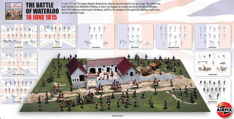 Michigan Toy Soldier Company : Airfix - Battle of Waterloo June 1815 Gift Set w/paint & glue