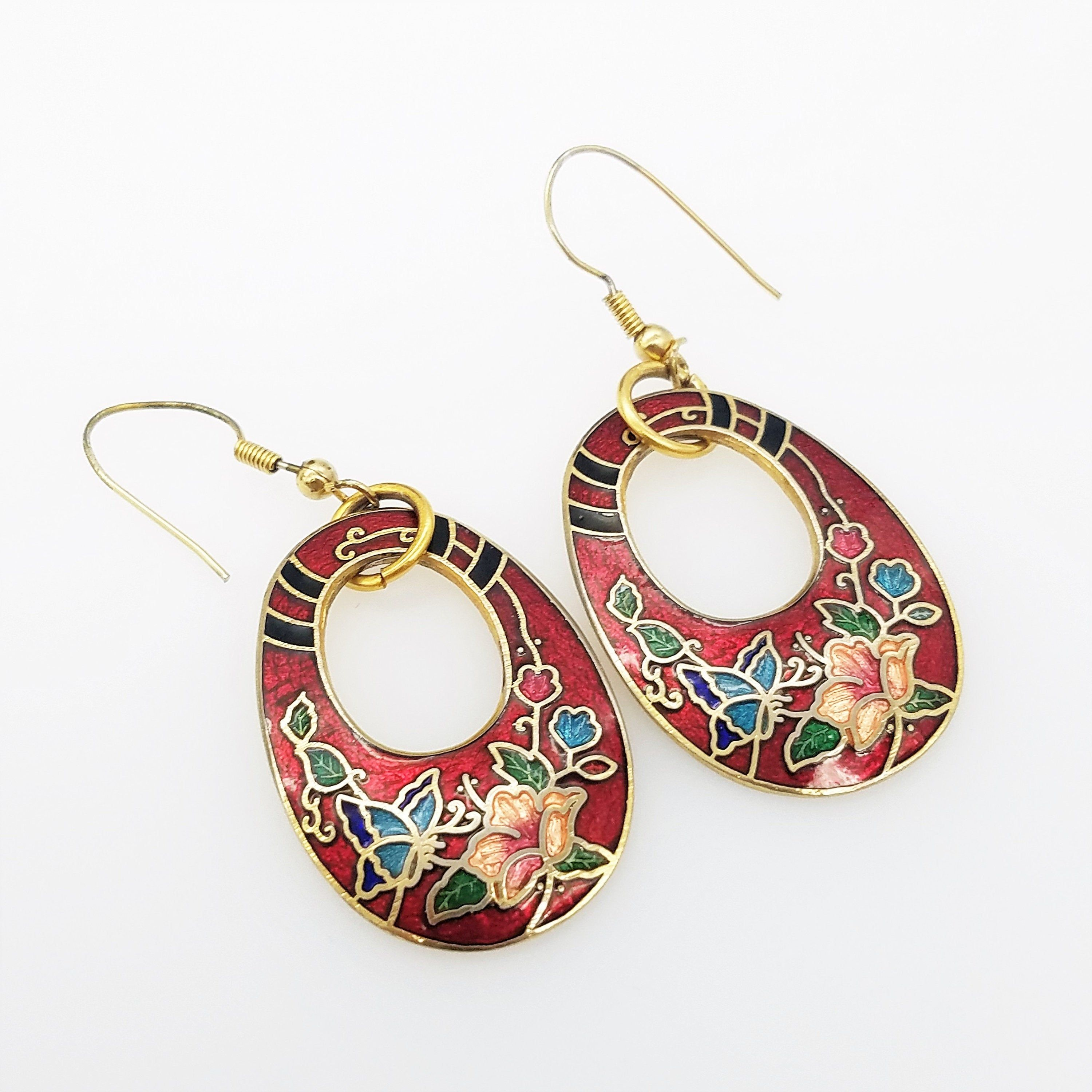 Red White Gold Cloisonne Earrings Red Floral Earrings Red Dangles