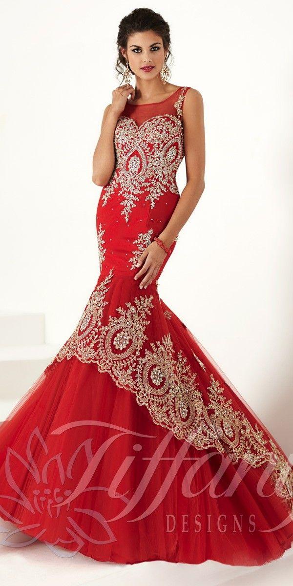 Striking Lace Mermaid Dress 16171. Colors: Aqua/Gold, Red/Gold ...