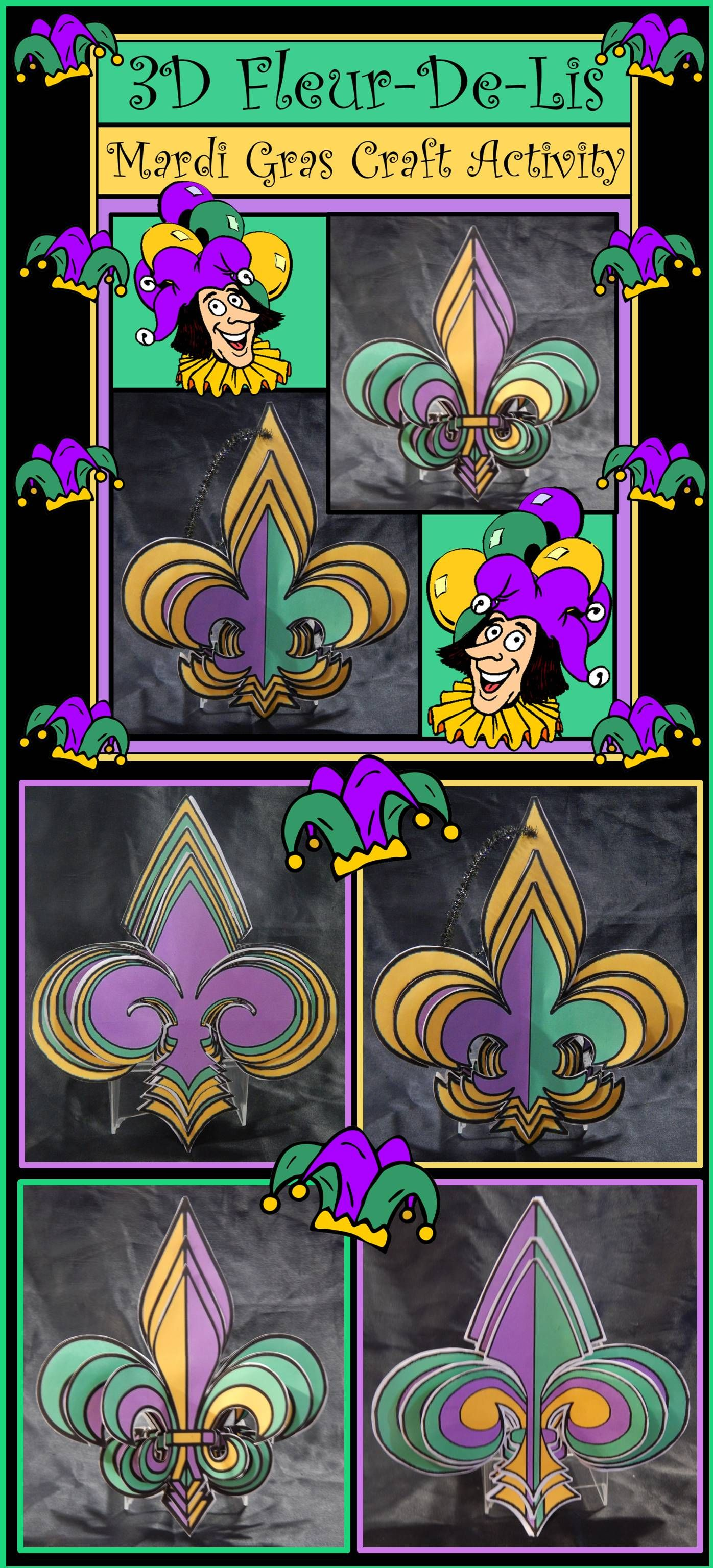 Mardi Gras Craft Activities 3d Fleur De Lis Craft