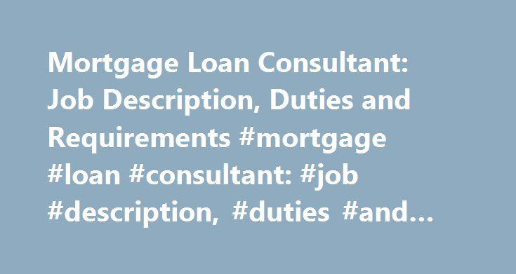 Loan Consultant Jobs] Management Consultant Job Description Sample 8 ...